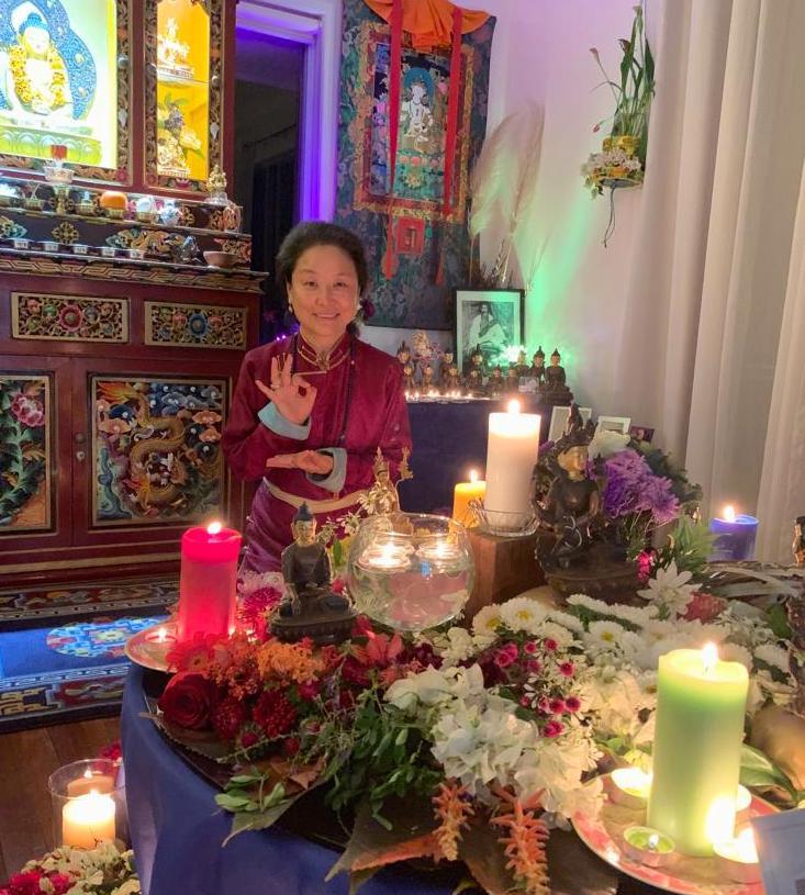 Rinpoche and Candlelight Mandala